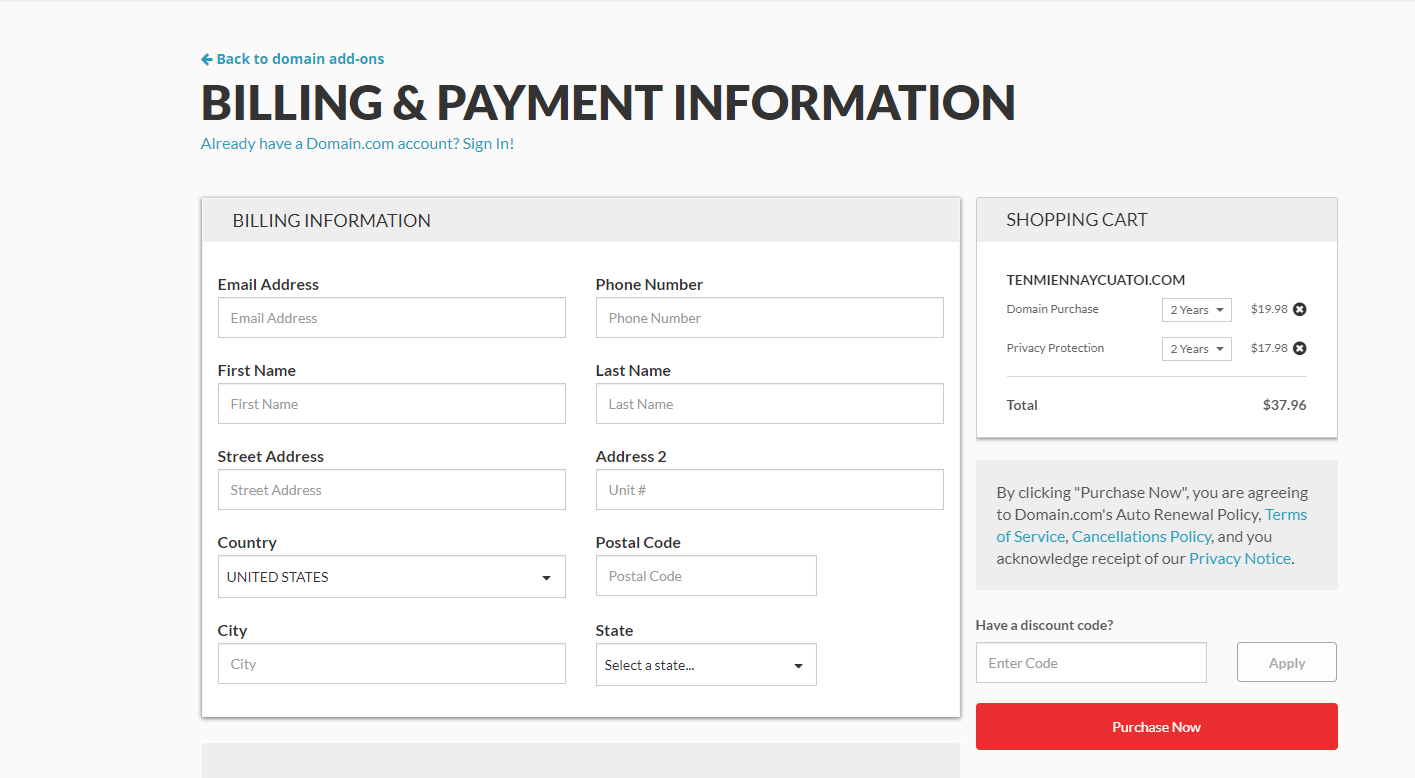 billing and payment infomation domain.com
