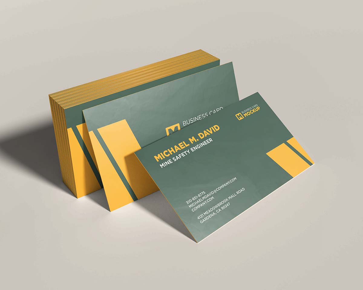 Stacked business card mockup