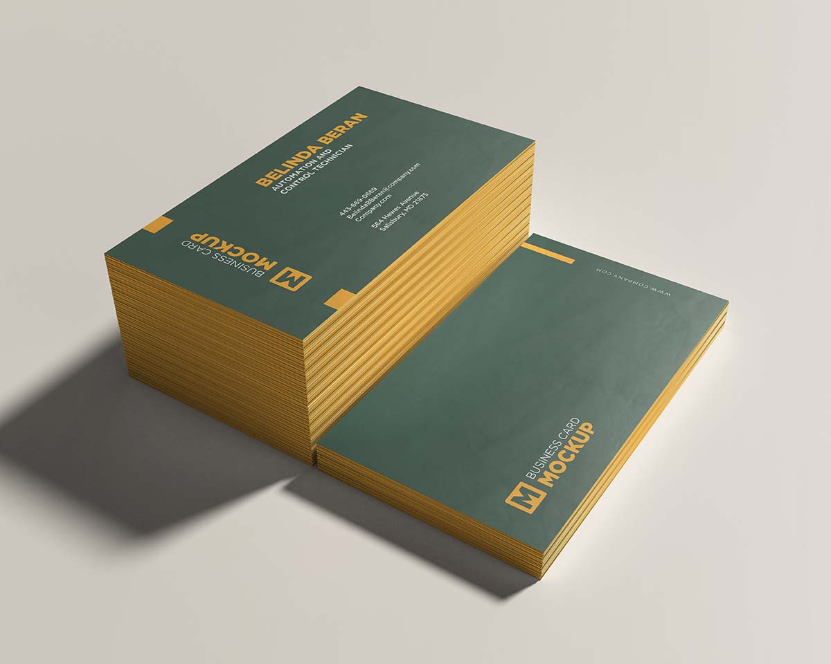 Two stacked business card mockup